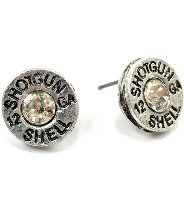 Western Peak Hammered 12 Gauge Shotgun Bullet Shell Earrings - Silver - C912GSKBZ6P