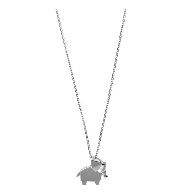 Boma Sterling Silver Origami Elephant Necklace- 16 inches - CF110H8NAU3