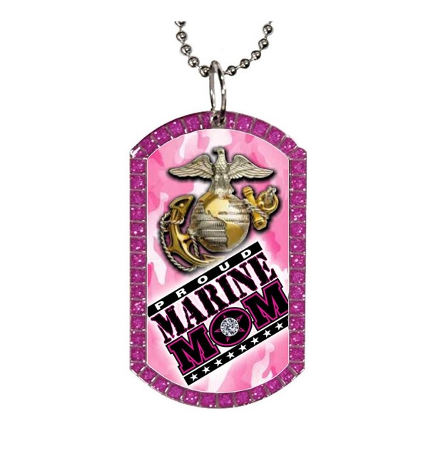 Marine Mom Pink Glitter Gem Stone Dog Tag Necklace with Silver Finish - CK11X9DZNVD