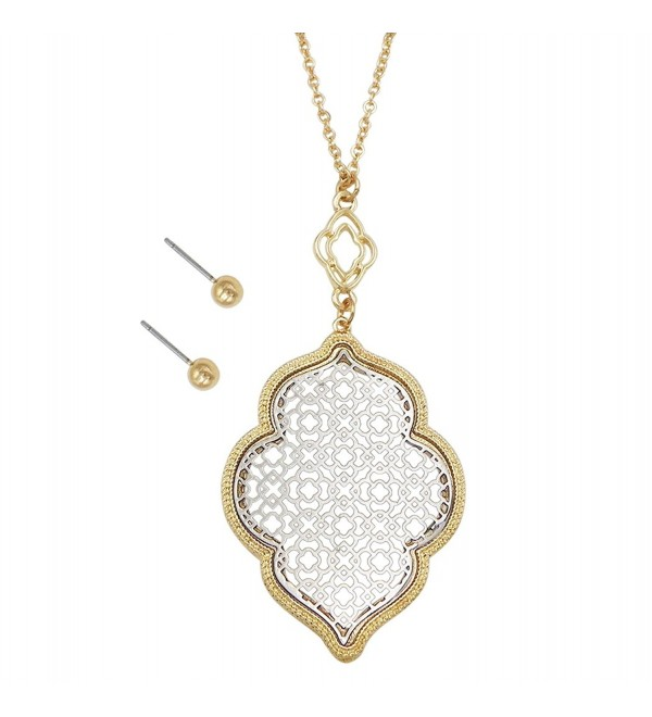 Rosemarie Collections Women's Openwork Moroccan Pendant Necklace Stud Earrings Set - Gold and Silver Tones - C1182WWG7EO