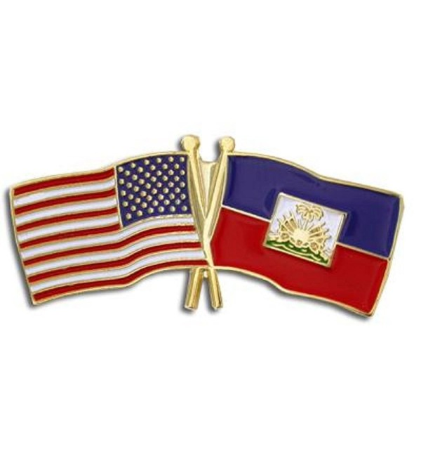 PinMart's USA and Haiti Crossed Friendship Flag Enamel Lapel Pin - CO119PEL3CD