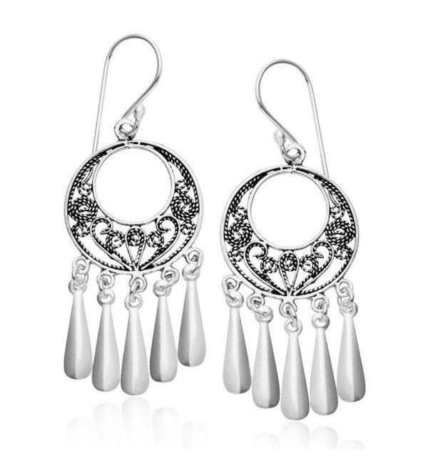 Sterling Silver Bali Filigree Chandelier Hoop Dangle Earrings - CC1107TM37T