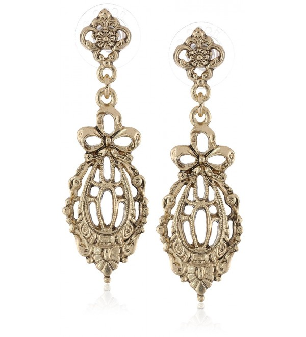 "Downton Abbey ""Gilded Age Carded"" Gold-Tone Belle Epoch Bow Filigree Drop Earrings - C111FP3XW4Z"