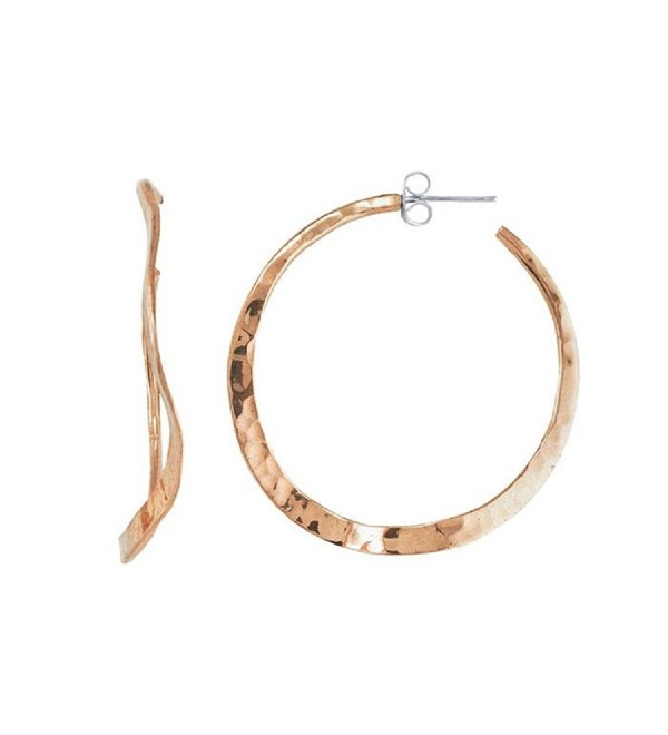 Copper Wavy Hammered Hoop Earrings with Post - C6187ZD32UL