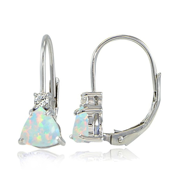 Sterling Created Trillion Cut Leverback Earrings - Created White Opal - CD17XWEHTMN