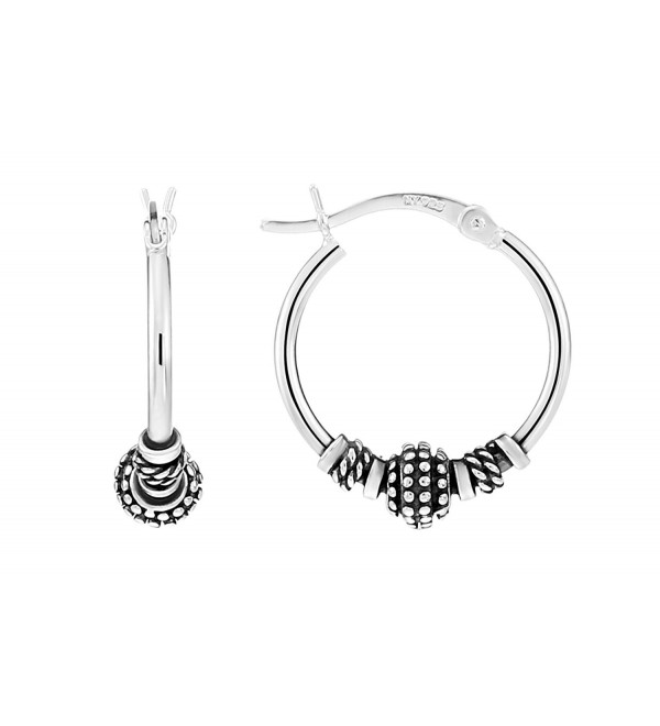 Sterling Silver Roped Beaded Small Round Hoop Earrings - CF186HYWYKM