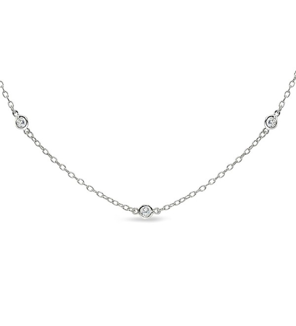Sterling Silver Cubic Zirconia Station Dainty Chain Choker Necklace - CN185YHXA09