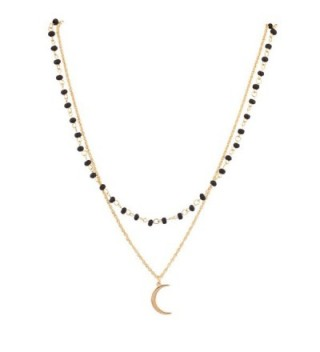 Lux Accessories Celestial Black Beaded Half Moon Charm Necklace Gift Set - CE11WNX4MV7