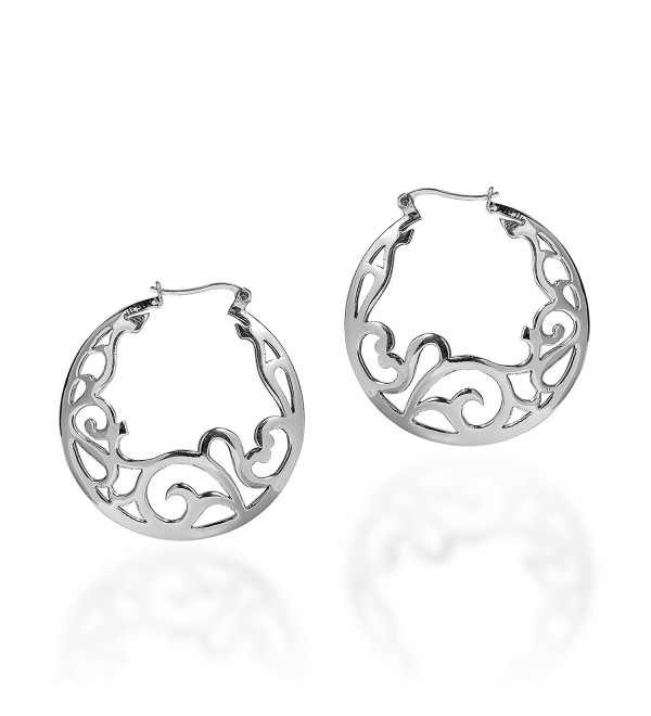 Delicate Filigree Swirl .925 Sterling Silver Hoop Earrings - CV1253B7GBX