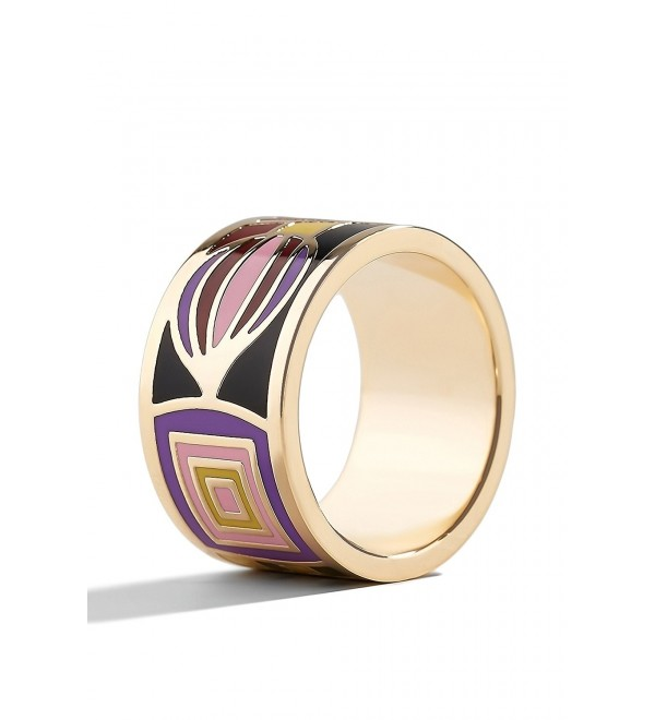 Enamel Wide Flat Band Ring Jewelry for Girls Women Fashion Accessories Rings Light - C712NZYWV98