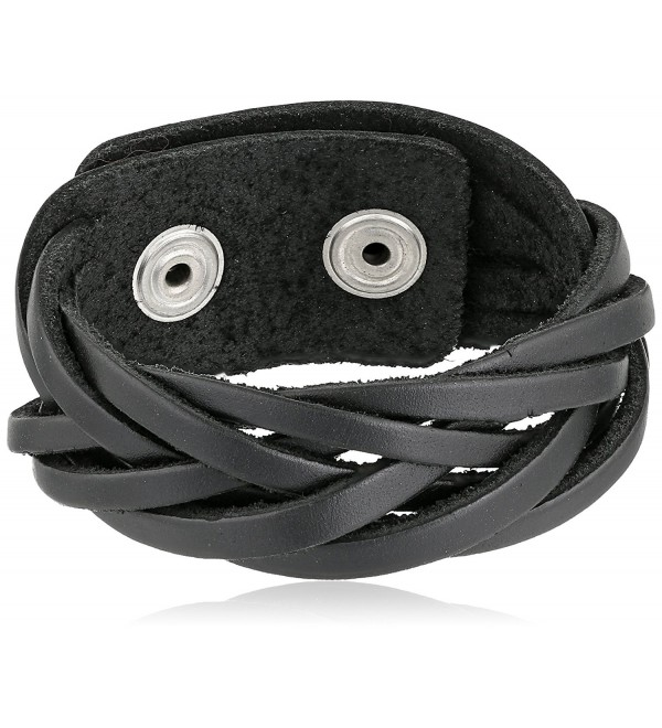 "BrownBeans- Fits 6.5""-7.5"" Wrist- Womens Casual Braided Black Leather Comfortable Bracelet (LBCT5041) - CI11DOPGCPH"