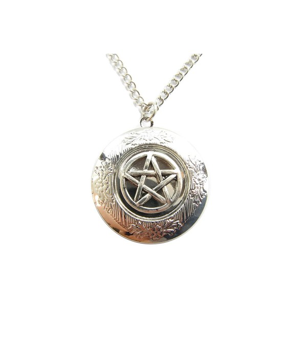 Ancient Silver Tone Supernatural Inspired Pentagram Locket Necklaces Jewelry - C31285JB0P3