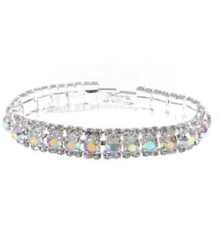 Topwholesalejewel Bridal Bracelet Silver Aurora Borealis Rhinestone Cuff Bracelet With Fold Over Clasp - CT11UJ5GIH7