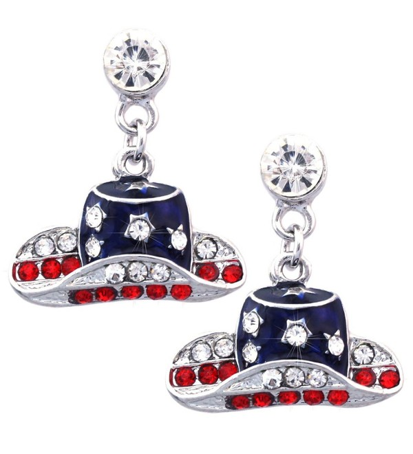 Patriotic Color Cowboy Cowgirl Dangle Hat Charm Stud Earrings - Silve-tone - C111XP1PDYL
