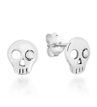 Punk Mini One Eyed Skull .925 Sterling Silver Stud Earrings - CH12N36MDH4