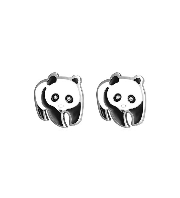 U7 Women Girls Stainless Steel Cute Panda Stud Earrings - CP12JE0ES8N