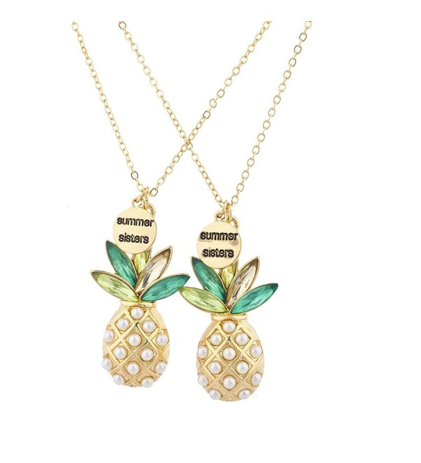 Lux Accessories Gold Tone Summer Sisters Pearl Pineapple BFF Necklace Set - CE17YHQ6DNS