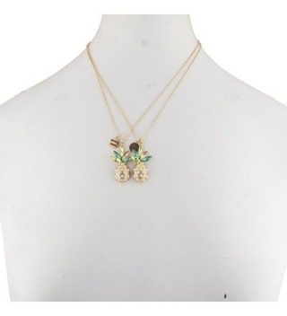 Lux Accessories Sisters Pineapple Necklace in Women's Pendants