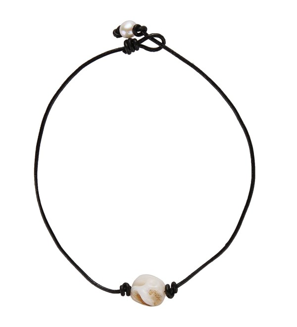 Barch One Single Genuine White Abalone Shell Choker Necklace Adjustable with Black Leather Cord - 14 Inch - CV1858TGD3N