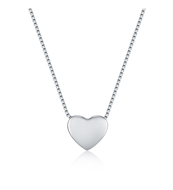 "WRISTCHIE 925 Sterling Silver Tiny Silver Floating Heart Necklace 18"" - C312J5N7PEX"