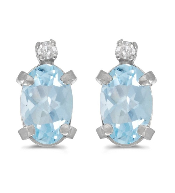 Sterling Silver Oval Aquamarine and Diamond Earrings - CU118AF63EF