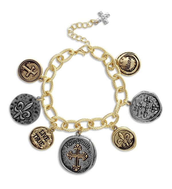 Textured Link Charm Bracelet with Two Tone Coins Faith- Cross- Fleur de Lis - CB11MV1B7CD