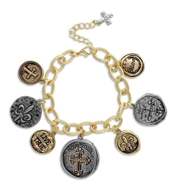 Textured Link Charm Bracelet with Two Tone Coins Faith- Cross- Fleur de Lis - CB11MV1B7CD