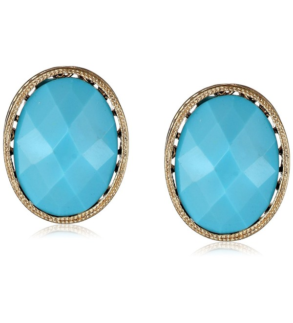 "1928 Jewelry ""Mykonos"" Gold-Tone Turquoise Oval Button Stud Earrings - C711K9QAJV1"