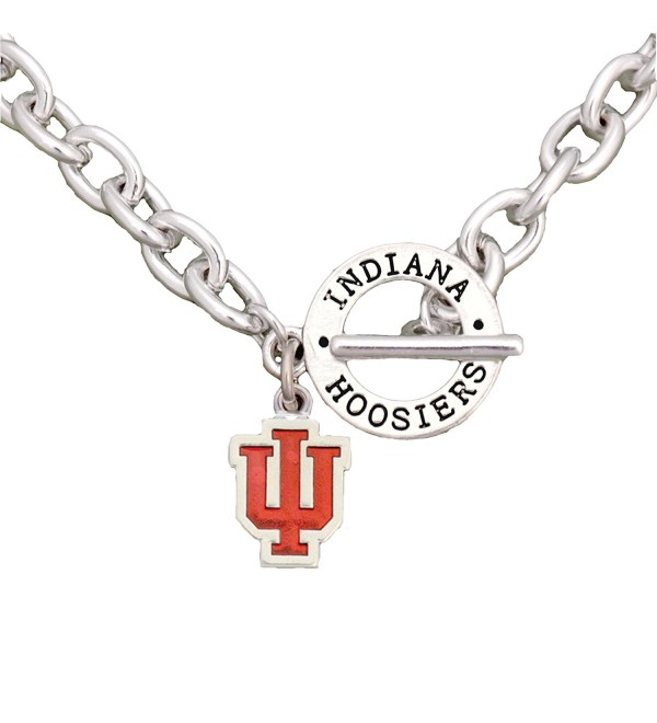 Indiana Hoosiers Team Name Toggle Silver Necklace Red Enamel Charm Jewelry IU - CH12CJ5YPFB