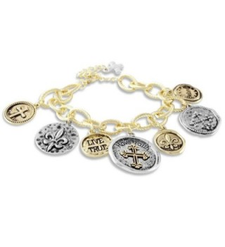 Textured Charm Bracelet Coins Faith