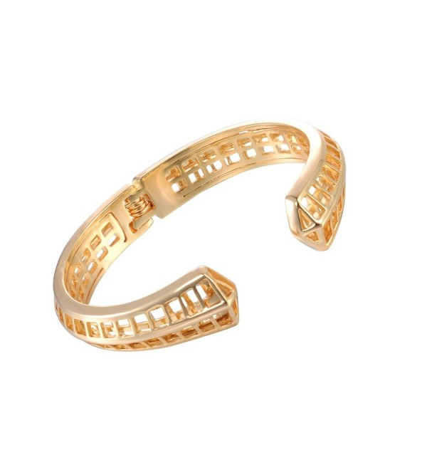 XZP Hollow out Women Bangle Cuff Bracelets Statement Metal C Design Simple Open Fashion Wristlet Jewelry - Gold - CA187AHL35Q