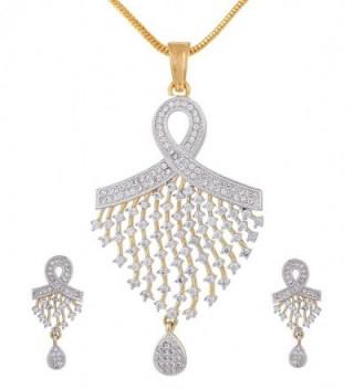 Ananth Jewels Peacock Shaped Zircon Fashion Jewelry Set Pendant Earrings for Women - CM125KO0XIB