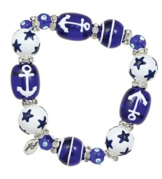 Clementine Design Kate & Macy Anchors Away Nautical Bracelet Painted Glass Beads Rhinestones - CX11769XAMT