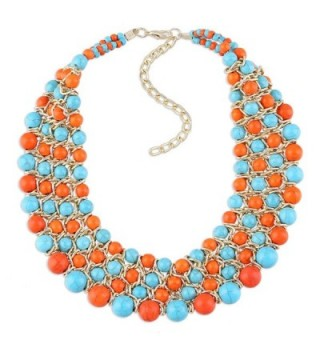 Golden Chains Imitation Turquoise Beads Weaving Multicolor Chokers Necklace for Women- Prom- Party- Wedding - CA120TWJ88P