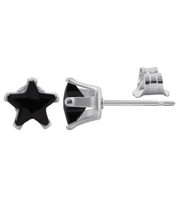 Gem Avenue 925 Sterling Silver 6mm Star Black Cubic Zirconia Post Back Stud Earrings - CT111DJA3KZ