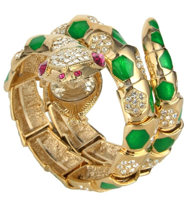 EVER FAITH Austrian Crystal Enamel Art Deco Snake Bangle Bracelet - Green Gold-Tone - C111Y644KTF