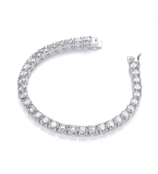 Women Wonderful 5mm Round Cubic Zirconia Tennis Bracelet- Measures 7.5 Inches - CI12IIBU0N1