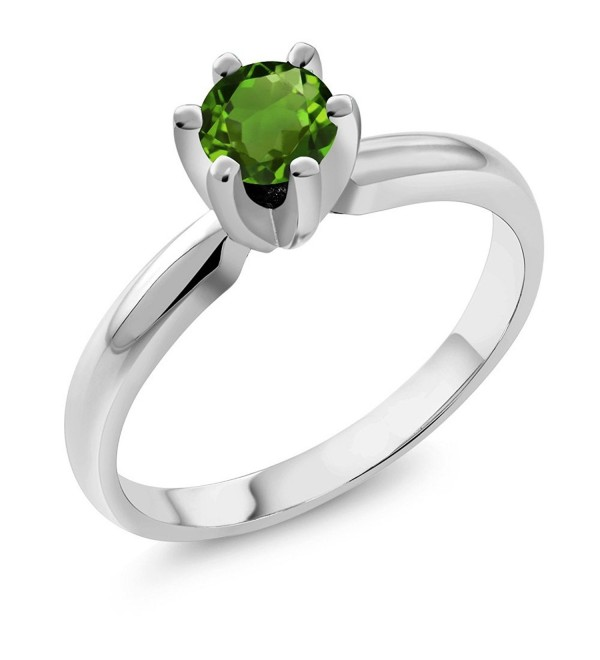 0.50 Ct Round Green Chrome Diopside 925 Sterling Silver Ring - CO11FE5SESN