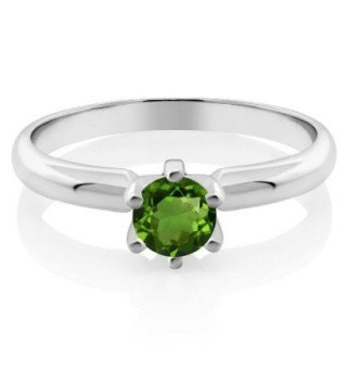 Round Chrome Diopside Sterling Silver