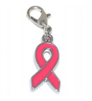 "Jewelry Monster Clip-on ""Pink Ribbon"" Charm Bead - CT12IRMU199"