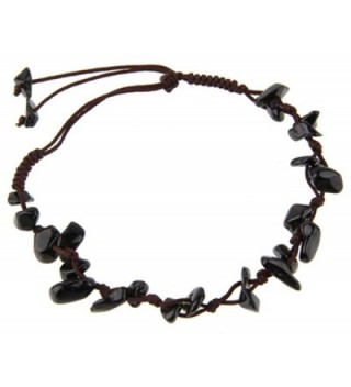Natural gem stone anklet hand made with polyester cord - ONYX - C81832GZ9C8