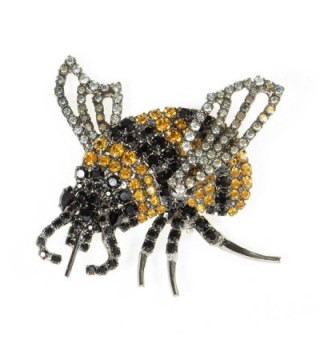 Bumble Bee Pin Using Jet and Topaz Swarovski Stones with Movable Wings by Albert Weiss - CG12BC40FOF