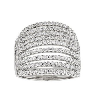 Sterling Silver Rhodium Micropave Multi-Row Dome Cubic Zirconia Ring - CS12ODVQ7W8