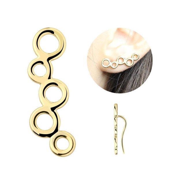 Crawler Earrings Circles Climbers Birthday - Gold - C01868GE9LX