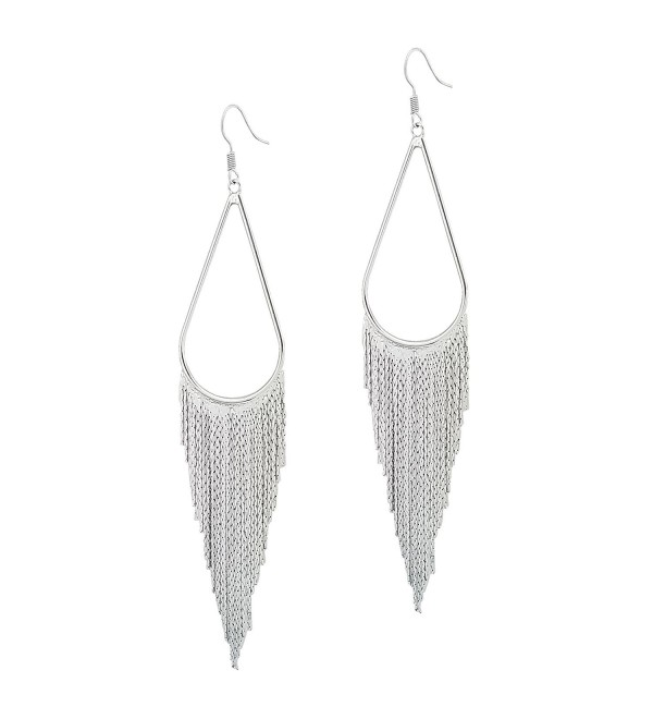 SELOVO Long Tassel Dangle Earrings Boho Bohemian Teardrop Earrings Silver Tone - C9180K24S8D