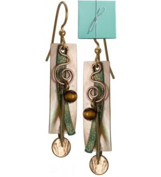 Layered Gold-tone Genuine Shell Dangle Earring Swirls Bead Gold-tone Surgical Steel Silver Forest - CC11EXB3WIL