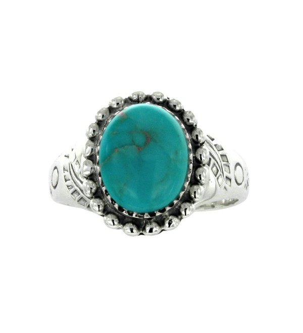 925 Oxidized Sterling Silver Oval Turquoise Gemstone Statement Ring- Size 7 - CE12CGDKLTF