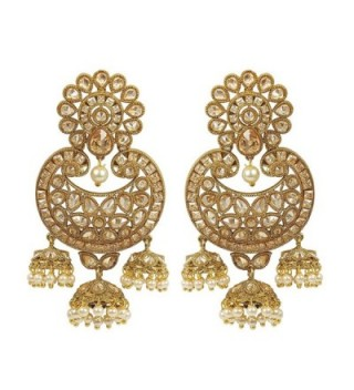 MUCHMORE Great Women Fashion Style Pearl and Crystal Stone Polki Indian Earring Jewelry - C312OC1S8M7