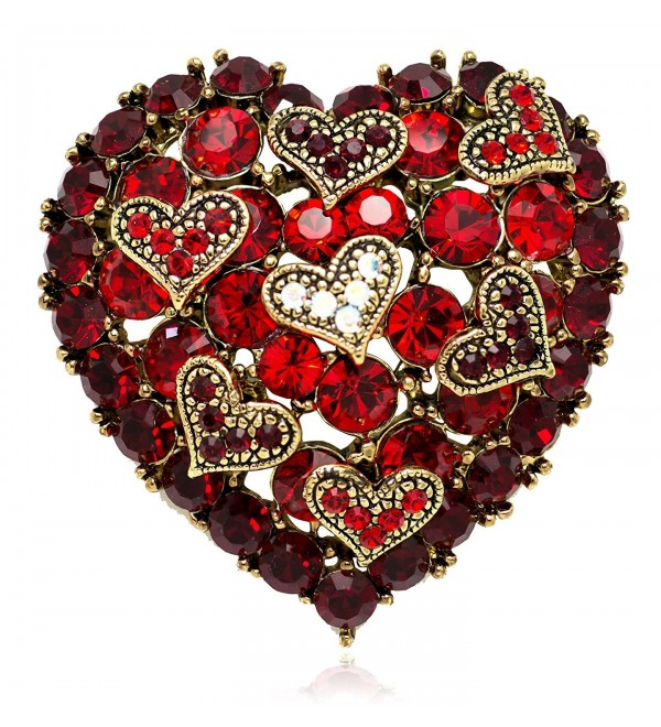 Akianna Antique Gold-tone Swarovski Element Crystals Valentine Hearts on Heart Pin Brooch - CC12C4P95SN