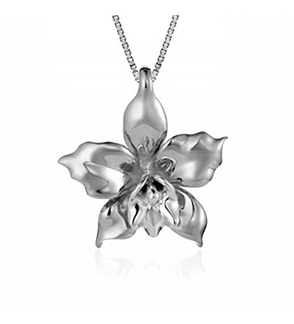 "Sterling Silver Orchid Necklace Pendant with 18"" Box Chain - C912NU2CMNH"